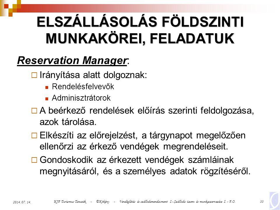 KJF Turizmus Tanszék - ©Kökény - Vendéglátás és szállodamendzsment I.- Szálloda üzem- és munkaszervezése I. - F.O.33 2014. 07. 14. ELSZÁLLÁSOLÁS FÖLDS