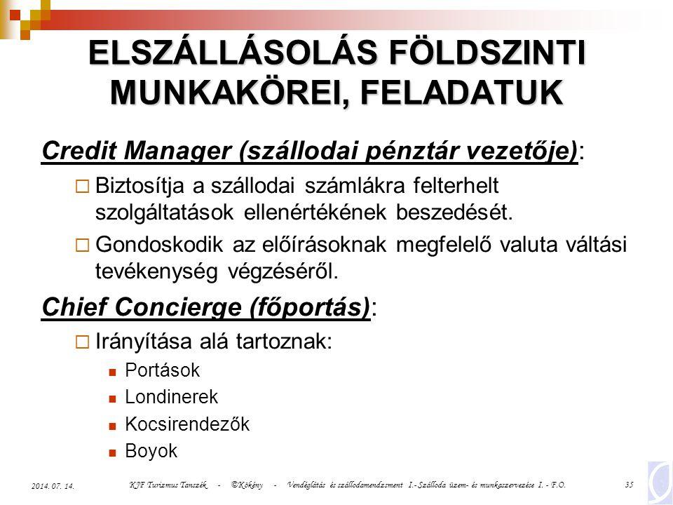 KJF Turizmus Tanszék - ©Kökény - Vendéglátás és szállodamendzsment I.- Szálloda üzem- és munkaszervezése I. - F.O.35 2014. 07. 14. ELSZÁLLÁSOLÁS FÖLDS