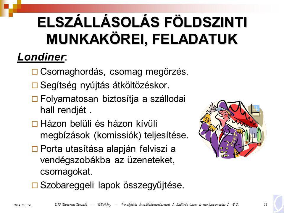 KJF Turizmus Tanszék - ©Kökény - Vendéglátás és szállodamendzsment I.- Szálloda üzem- és munkaszervezése I. - F.O.38 2014. 07. 14. ELSZÁLLÁSOLÁS FÖLDS