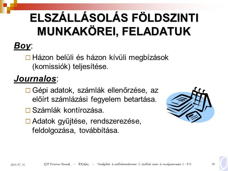 KJF Turizmus Tanszék - ©Kökény - Vendéglátás és szállodamendzsment I.- Szálloda üzem- és munkaszervezése I. - F.O.39 2014. 07. 14. ELSZÁLLÁSOLÁS FÖLDS