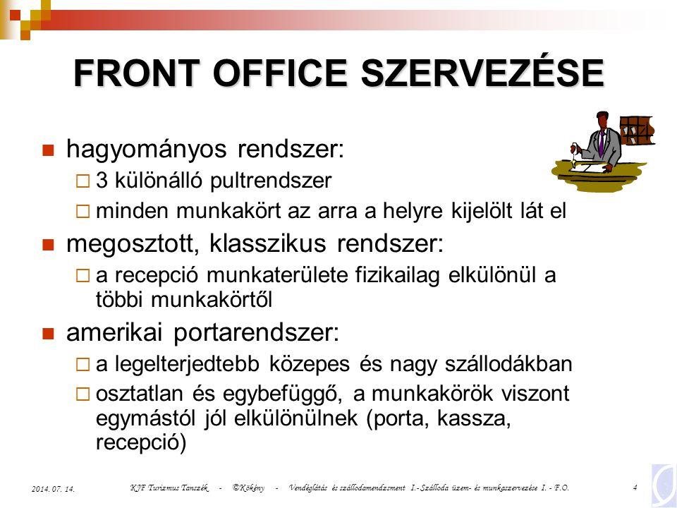 KJF Turizmus Tanszék - ©Kökény - Vendéglátás és szállodamendzsment I.- Szálloda üzem- és munkaszervezése I. - F.O.4 2014. 07. 14. FRONT OFFICE SZERVEZ