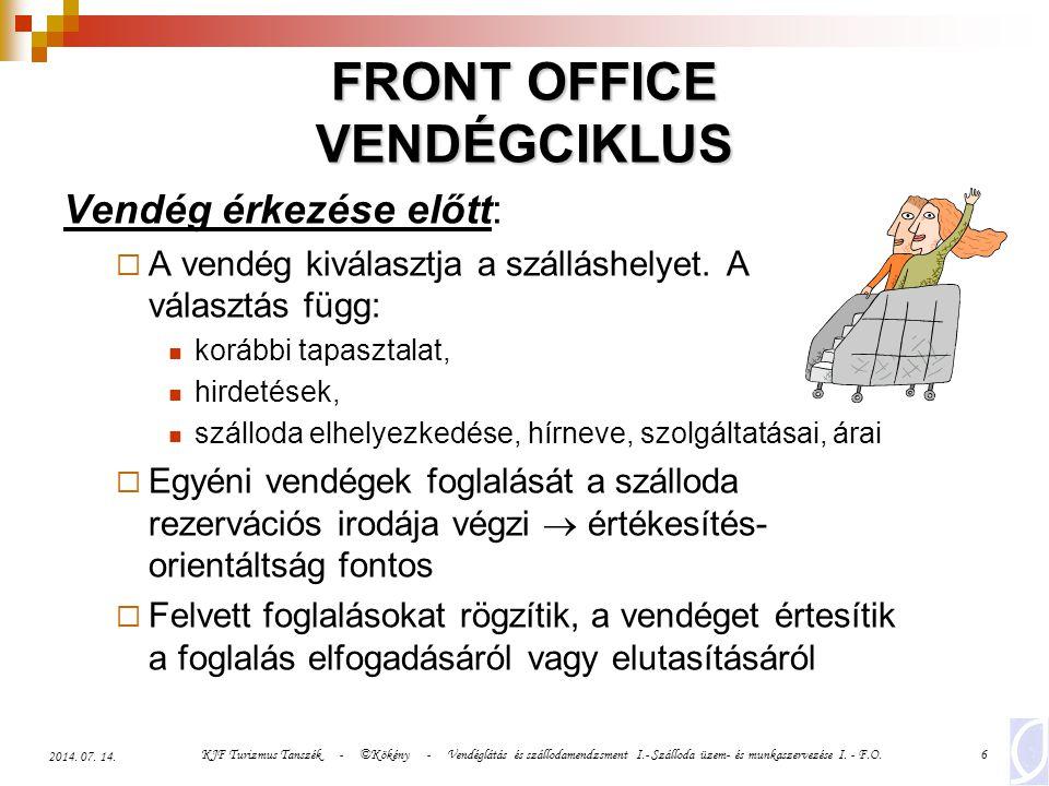 KJF Turizmus Tanszék - ©Kökény - Vendéglátás és szállodamendzsment I.- Szálloda üzem- és munkaszervezése I. - F.O.6 2014. 07. 14. FRONT OFFICE VENDÉGC