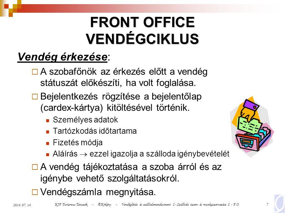 KJF Turizmus Tanszék - ©Kökény - Vendéglátás és szállodamendzsment I.- Szálloda üzem- és munkaszervezése I. - F.O.7 2014. 07. 14. FRONT OFFICE VENDÉGC