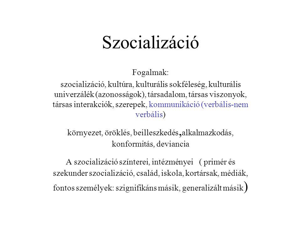 Szocializáció Fogalmak: szocializáció, kultúra, kulturális sokféleség, kulturális univerzálék (azonosságok), társadalom, társas viszonyok, társas inte