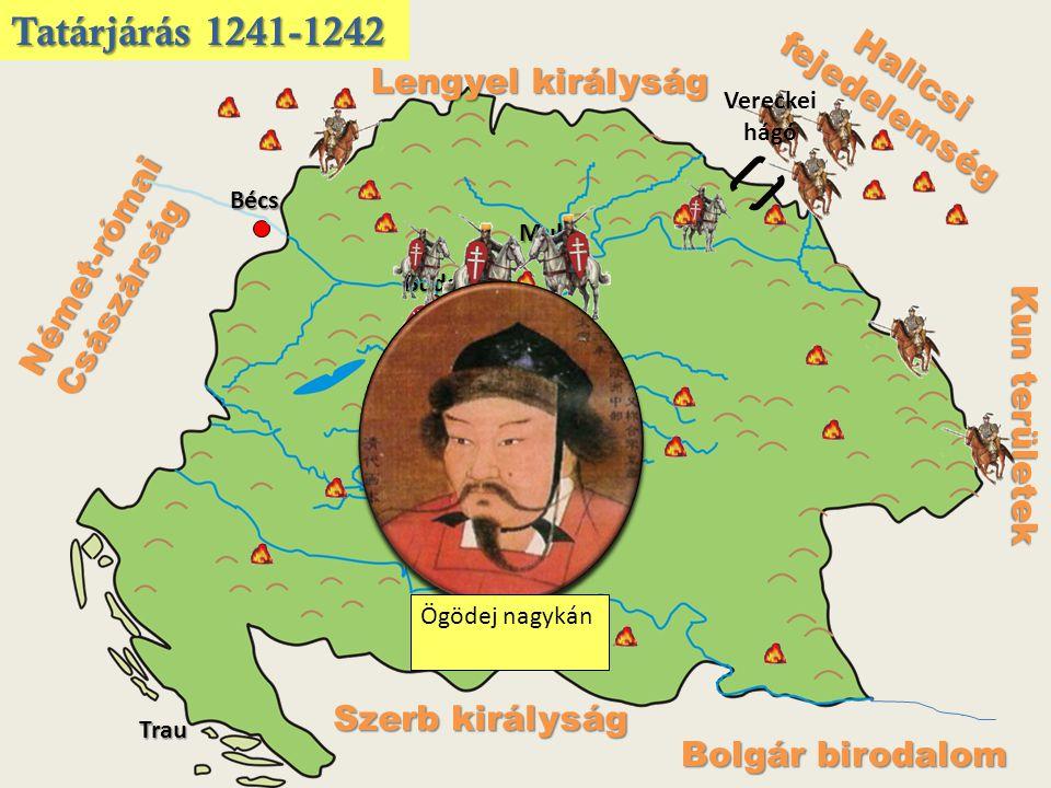 Halicsi fejedelemség Kun területek Lengyel királyság Német-római Császárság Szerb királyság Bolgár birodalom Vereckei hágó Muhi Buda Trau Bécs Tatárjárás 1241-1242 Ögödej nagykán