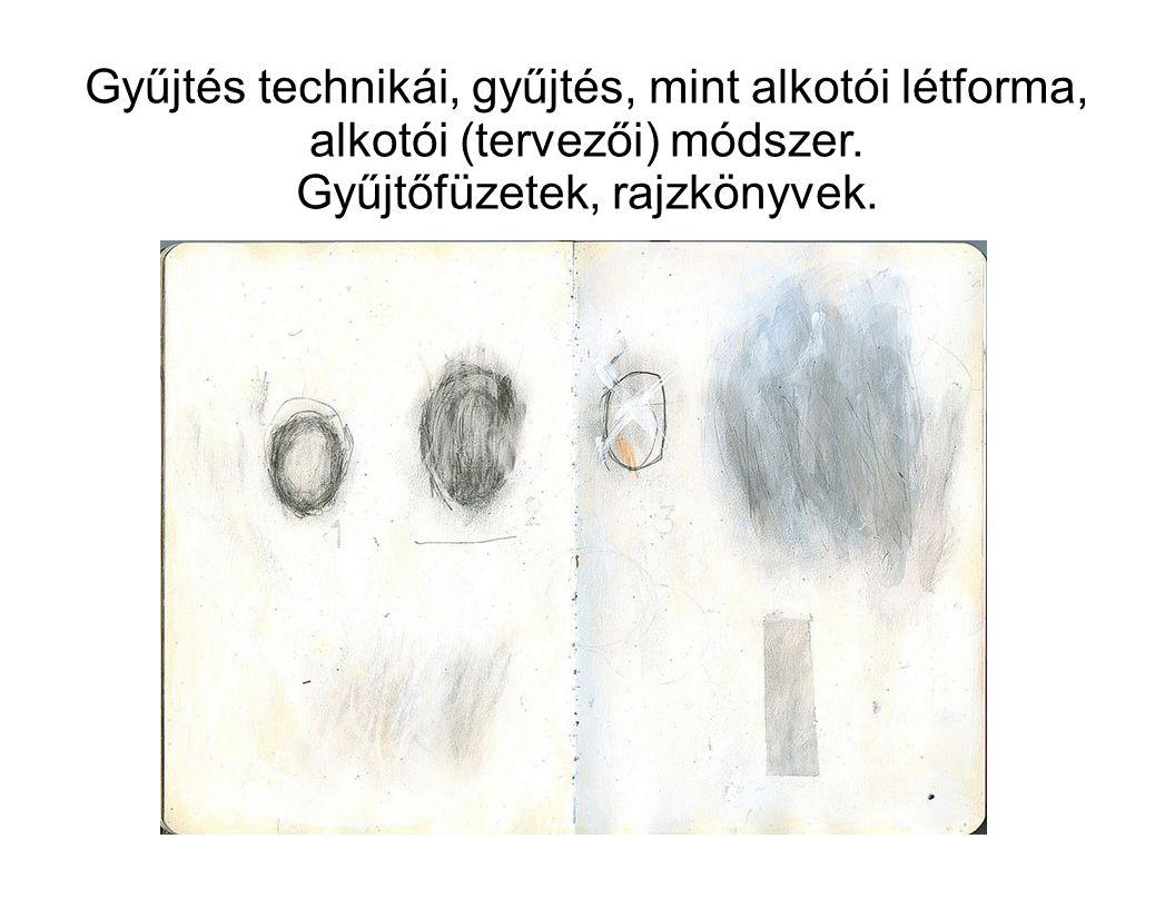 Gyűjtés technikái, gyűjtés, mint alkotói létforma, alkotói (tervezői) módszer. Gyűjtőfüzetek, rajzkönyvek.