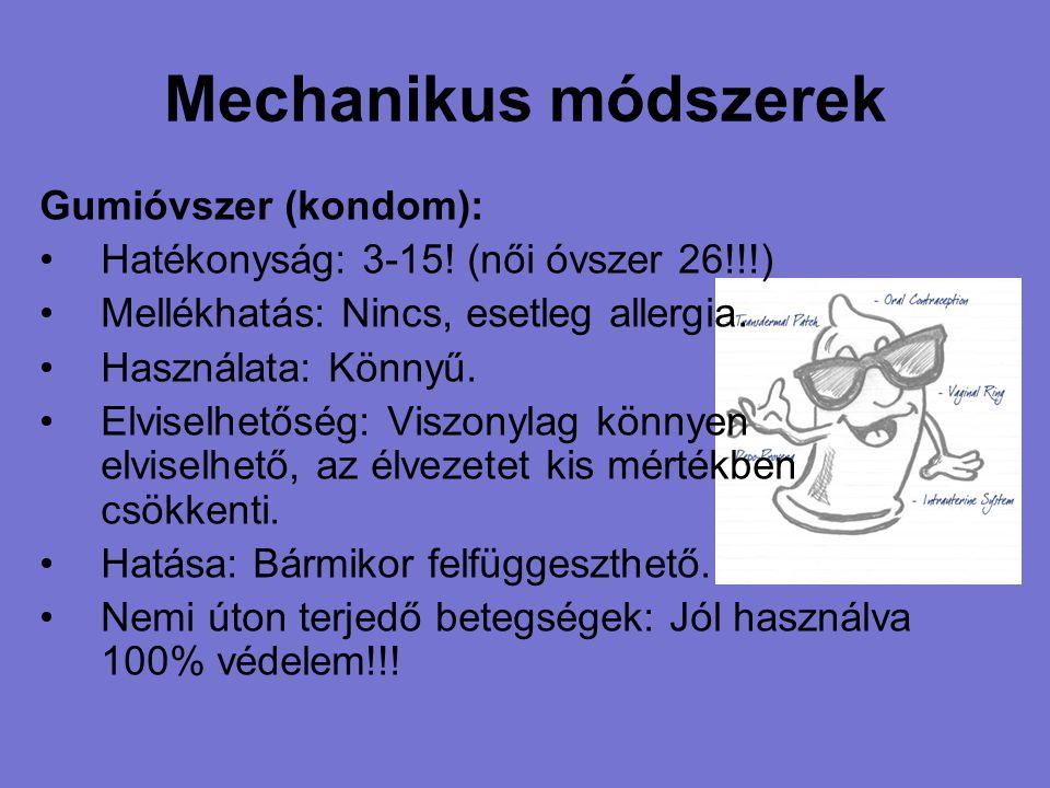 Mechanikus módszerek Gumióvszer (kondom): Hatékonyság: 3-15! (női óvszer 26!!!) Mellékhatás: Nincs, esetleg allergia. Használata: Könnyű. Elviselhetős