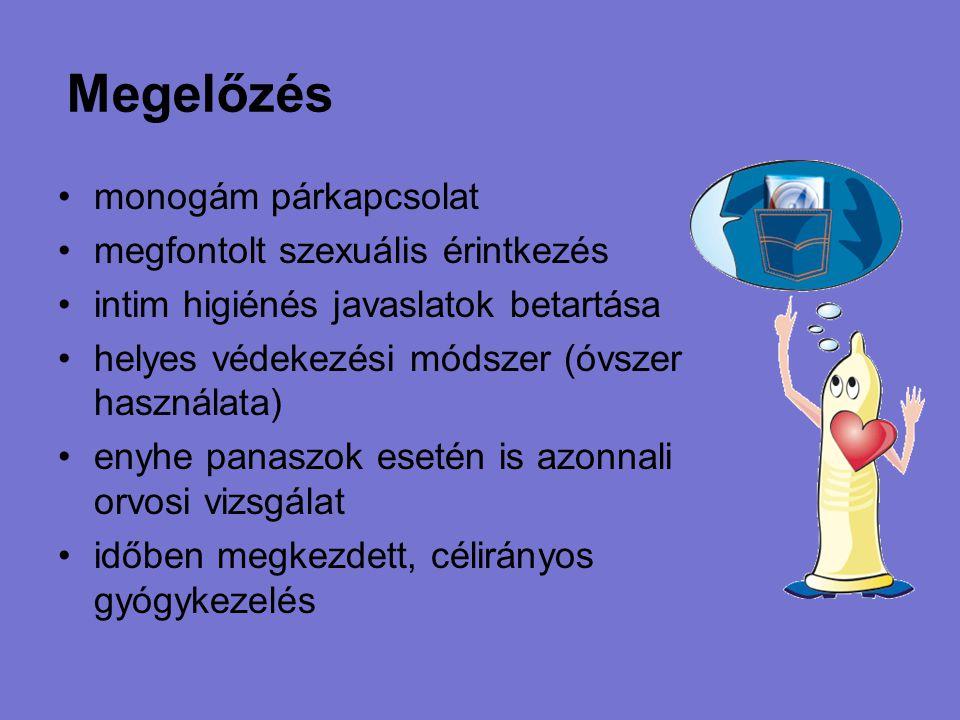 Megelőzés monogám párkapcsolat megfontolt szexuális érintkezés intim higiénés javaslatok betartása helyes védekezési módszer (óvszer használata) enyhe