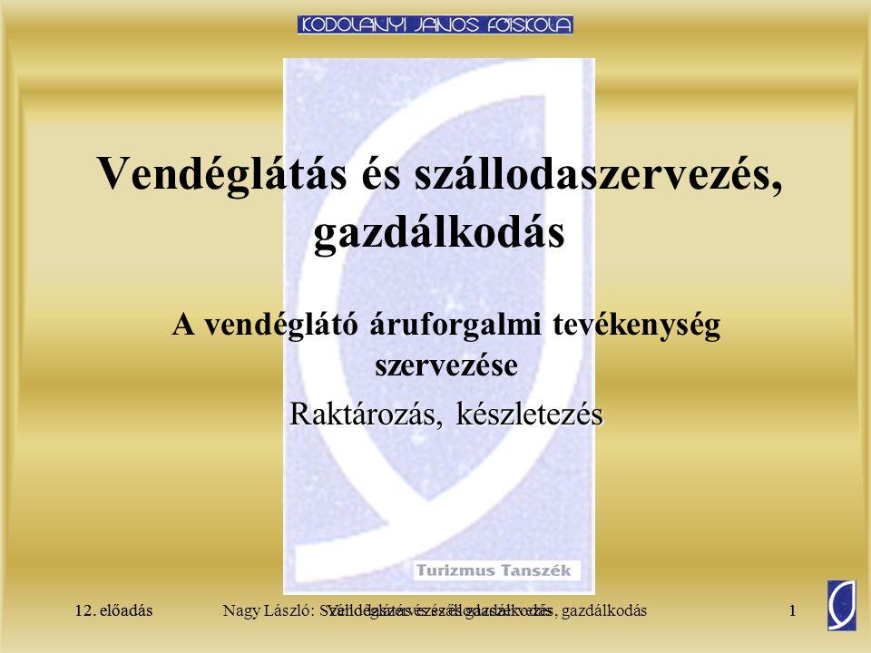 12. előadásSzállodaszervezés és gazdálkodás1Nagy László: Vendéglátás és szállodaszervezés, gazdálkodás12. előadás1 Vendéglátás és szállodaszervezés, g