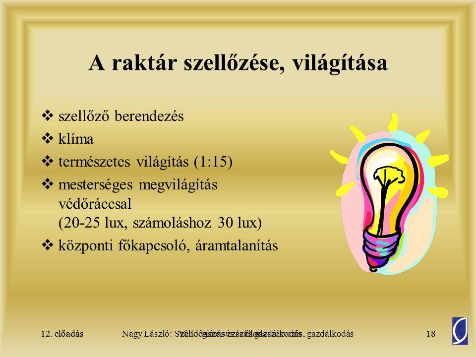 12. előadásSzállodaszervezés és gazdálkodás18Nagy László: Vendéglátás és szállodaszervezés, gazdálkodás12. előadás18 A raktár szellőzése, világítása 