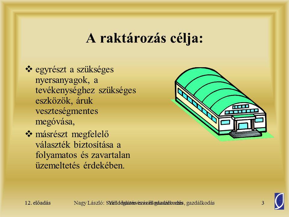 12. előadásSzállodaszervezés és gazdálkodás3Nagy László: Vendéglátás és szállodaszervezés, gazdálkodás12. előadás3 A raktározás célja:  egyrészt a sz