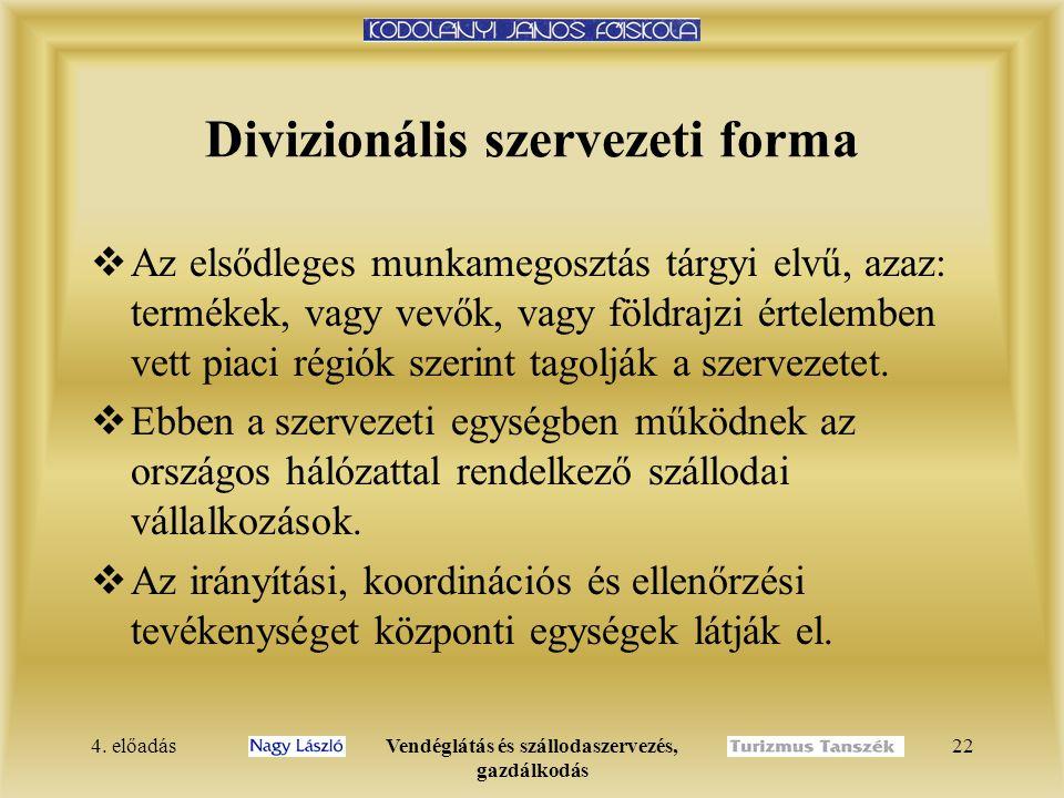 4. előadásVendéglátás és szállodaszervezés, gazdálkodás 21 Törzskari szervezeti forma