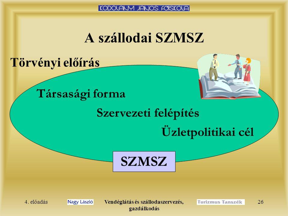 4. előadásVendéglátás és szállodaszervezés, gazdálkodás 25 Mátrix szervezeti forma