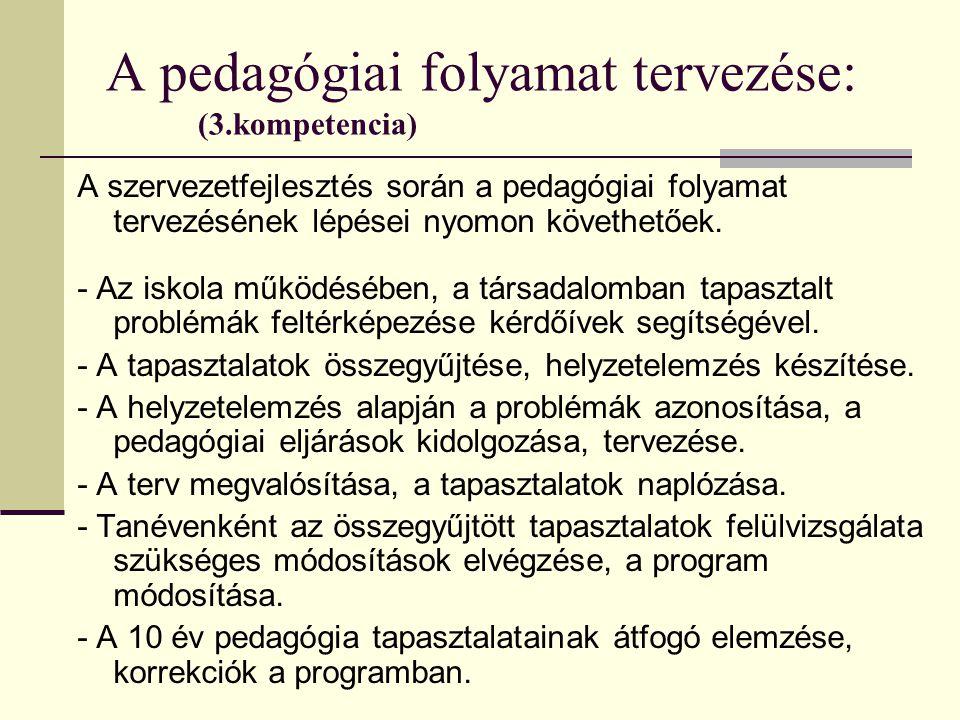 A pedagógiai folyamat tervezése: (3.kompetencia) A szervezetfejlesztés során a pedagógiai folyamat tervezésének lépései nyomon követhetőek. - Az iskol