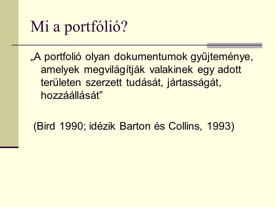 """Mi a portfólió? """"A portfolió olyan dokumentumok gyűjteménye, amelyek megvilágítják valakinek egy adott területen szerzett tudását, jártasságát, hozzáá"""