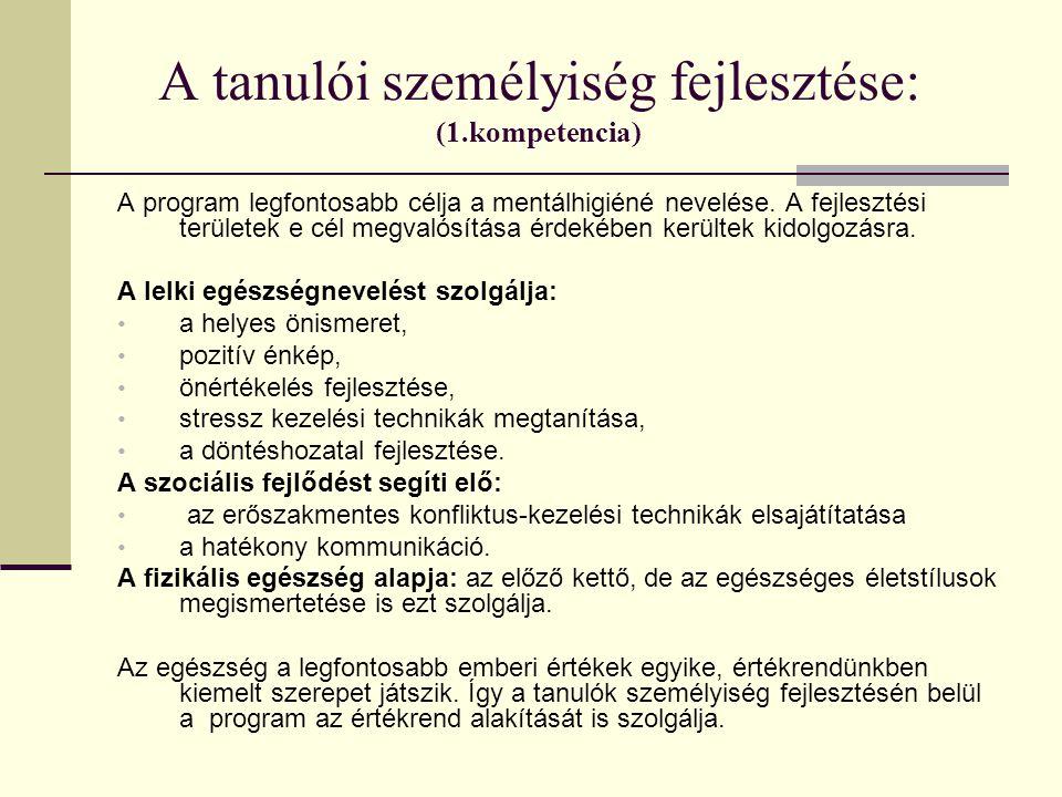 A tanulói személyiség fejlesztése: (1.kompetencia) A program legfontosabb célja a mentálhigiéné nevelése. A fejlesztési területek e cél megvalósítása