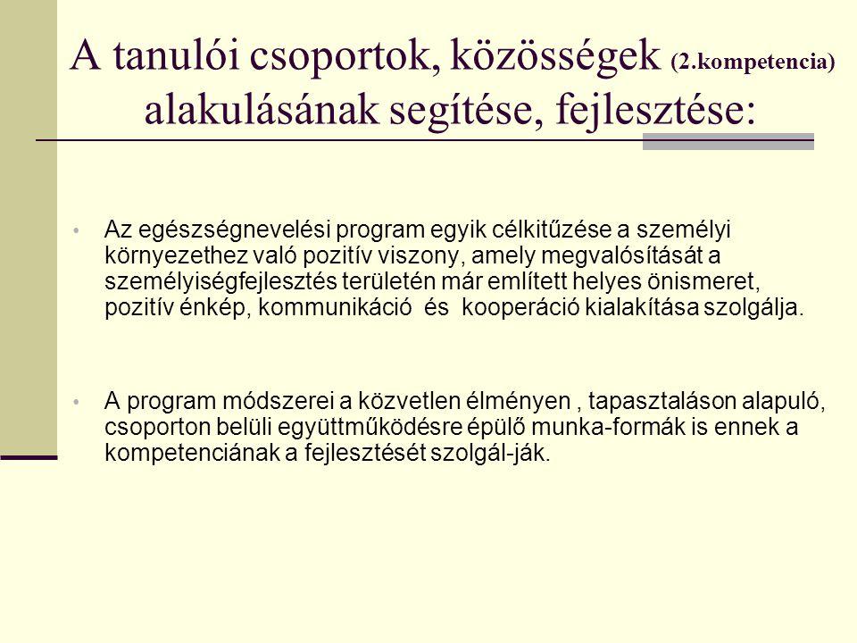 A tanulói csoportok, közösségek (2.kompetencia) alakulásának segítése, fejlesztése: Az egészségnevelési program egyik célkitűzése a személyi környezet