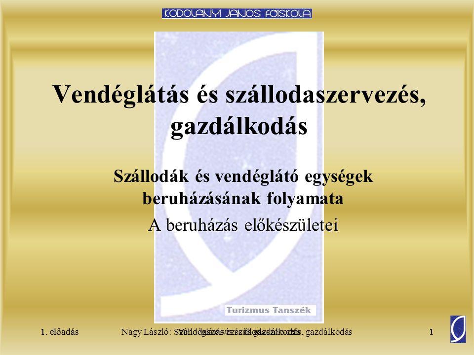 1. előadásSzállodaszervezés és gazdálkodás1Nagy László: Vendéglátás és szállodaszervezés, gazdálkodás1. előadás1 Vendéglátás és szállodaszervezés, gaz
