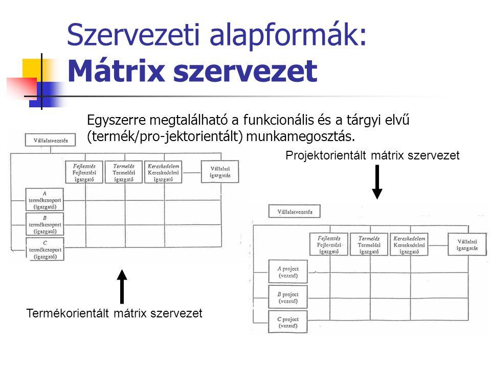 Szervezeti alapformák: Mátrix szervezet Egyszerre megtalálható a funkcionális és a tárgyi elvű (termék/pro-jektorientált) munkamegosztás. Termékorient