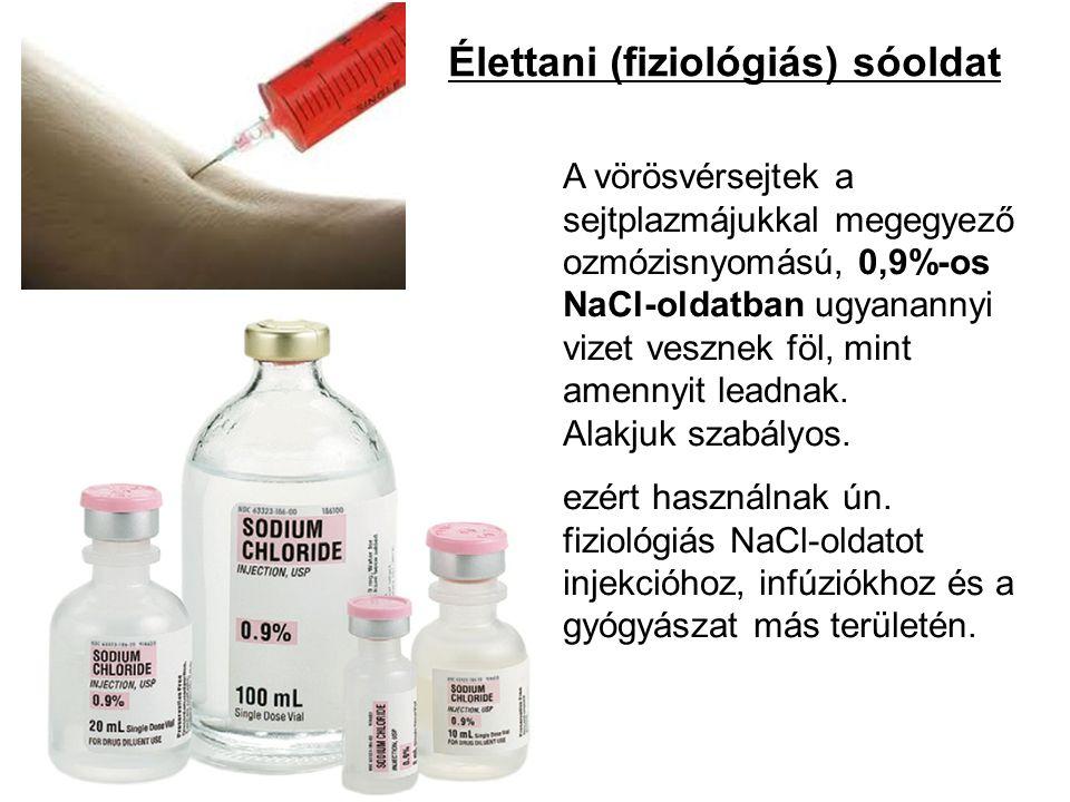 Élettani (fiziológiás) sóoldat A vörösvérsejtek a sejtplazmájukkal megegyező ozmózisnyomású, 0,9%-os NaCl-oldatban ugyanannyi vizet vesznek föl, mint