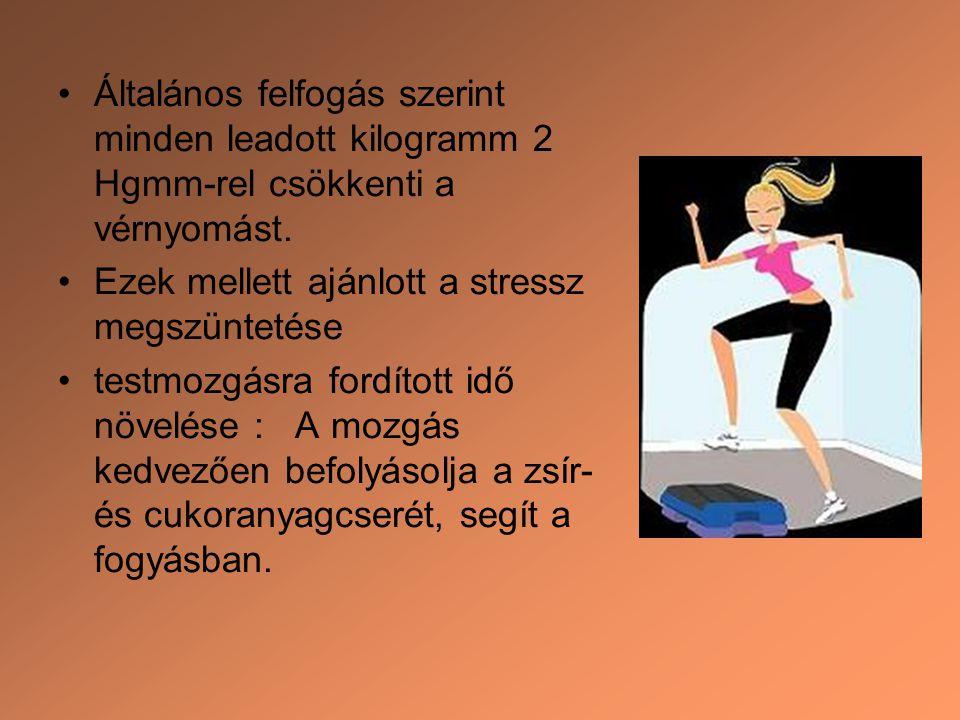 Általános felfogás szerint minden leadott kilogramm 2 Hgmm-rel csökkenti a vérnyomást. Ezek mellett ajánlott a stressz megszüntetése testmozgásra ford