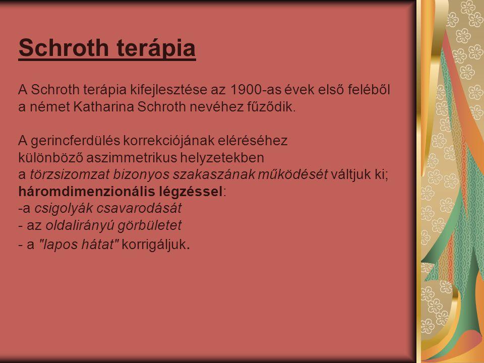 Schroth terápia A Schroth terápia kifejlesztése az 1900-as évek első feléből a német Katharina Schroth nevéhez fűződik.