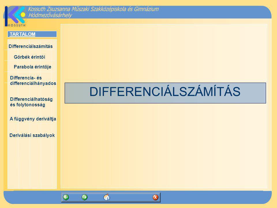 TARTALOM Differenciálszámítás Görbék érintői Parabola érintője Differencia- és differenciálhányados Differenciálhatóság és folytonosság A függvény deriváltja Deriválási szabályok Definíció: Azt a függvényt, amely megadja, hogy a változó egyes értékeihez mely derivált tartozik, az f(x) függvény deriváltfüggvényének vagy röviden deriváltjának nevezzük.