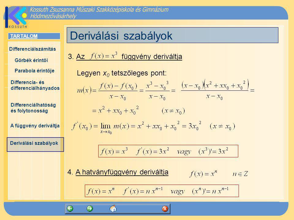 TARTALOM Differenciálszámítás Görbék érintői Parabola érintője Differencia- és differenciálhányados Differenciálhatóság és folytonosság A függvény der
