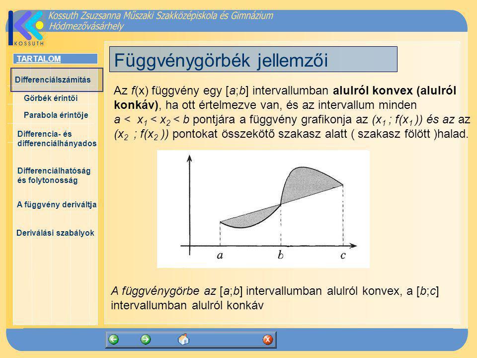 TARTALOM Differenciálszámítás Görbék érintői Parabola érintője Differencia- és differenciálhányados Differenciálhatóság és folytonosság A függvény deriváltja Deriválási szabályok A hányadosfüggvény deriváltja Feltételezzük, hogy az f(x) és g(x) függvények mindenütt differenciálhatók.