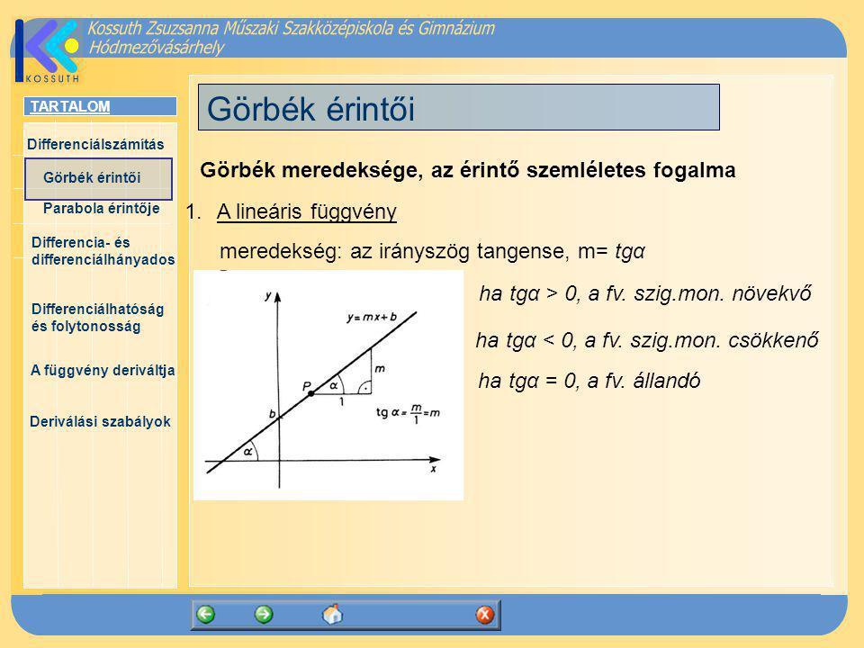 TARTALOM Differenciálszámítás Görbék érintői Parabola érintője Differencia- és differenciálhányados Differenciálhatóság és folytonosság A függvény deriváltja Deriválási szabályok Például: 1.