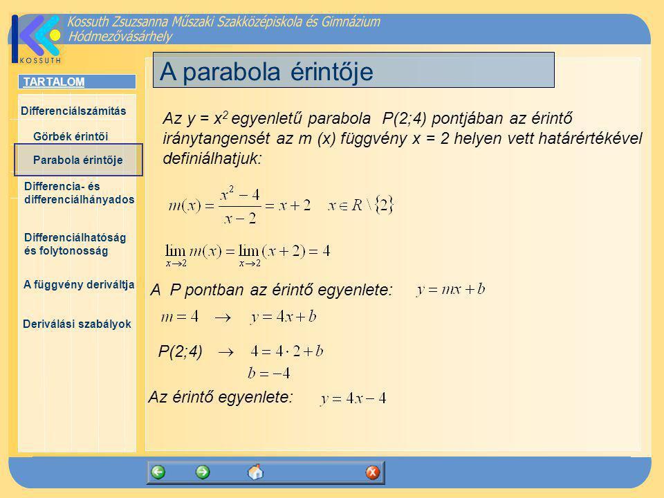 TARTALOM Differenciálszámítás Görbék érintői Parabola érintője Differencia- és differenciálhányados Differenciálhatóság és folytonosság A függvény deriváltja Deriválási szabályok Differencia- és differenciálhányados Definíció: Az f(x) függvény x 0 ponthoz tartozó differenciahányadosán az hányadost értjük.