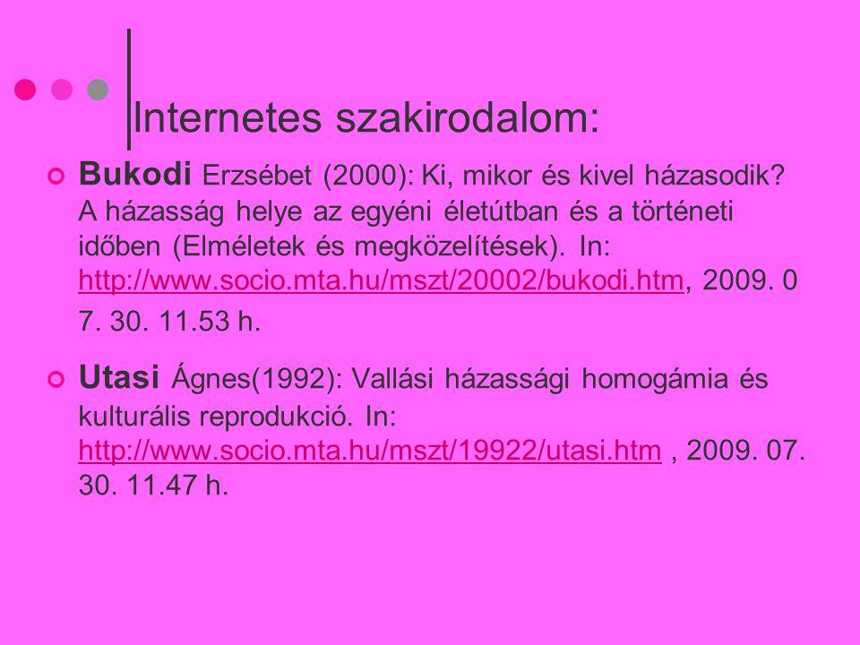 Internetes szakirodalom: Bukodi Erzsébet (2000): Ki, mikor és kivel házasodik? A házasság helye az egyéni életútban és a történeti időben (Elméletek é