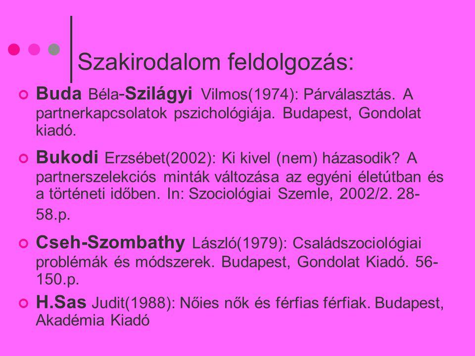Szakirodalom feldolgozás: Buda Béla -Szilágyi Vilmos(1974): Párválasztás. A partnerkapcsolatok pszichológiája. Budapest, Gondolat kiadó. Bukodi Erzséb
