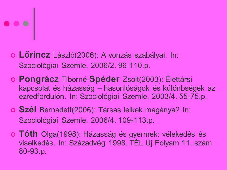 Lőrincz László(2006): A vonzás szabályai. In: Szociológiai Szemle, 2006/2. 96-110.p. Pongrácz Tiborné- Spéder Zsolt(2003): Élettársi kapcsolat és háza