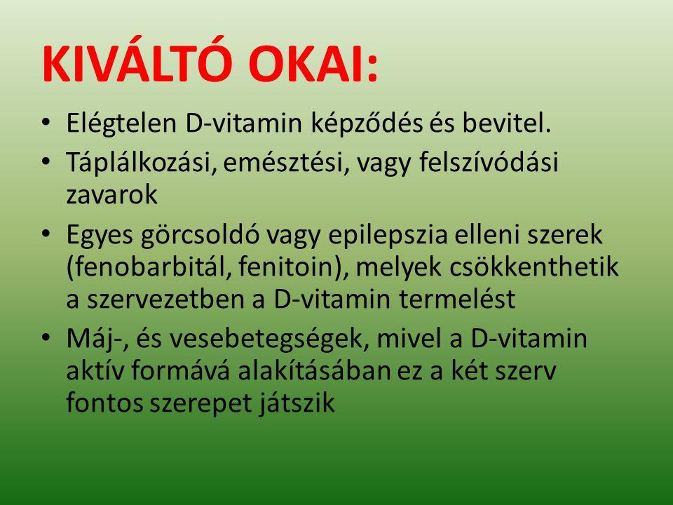 KIVÁLTÓ OKAI: Elégtelen D-vitamin képződés és bevitel. Táplálkozási, emésztési, vagy felszívódási zavarok Egyes görcsoldó vagy epilepszia elleni szere