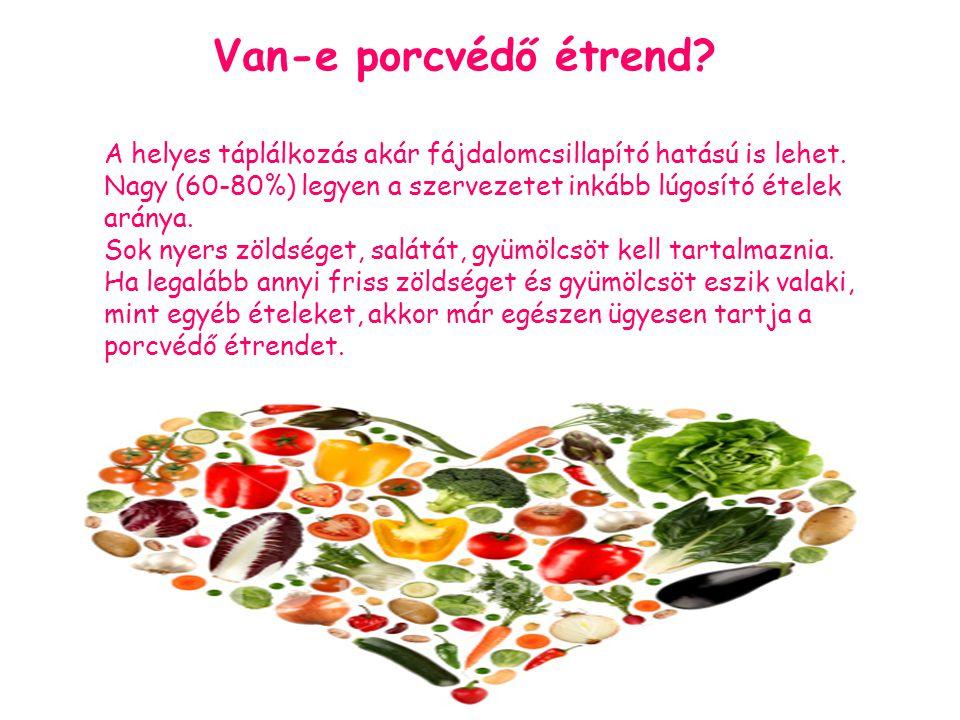 Van-e porcvédő étrend.A helyes táplálkozás akár fájdalomcsillapító hatású is lehet.