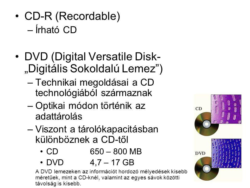 """CD-R (Recordable) –Írható CD DVD (Digital Versatile Disk- """"Digitális Sokoldalú Lemez"""") –Technikai megoldásai a CD technológiából származnak –Optikai m"""