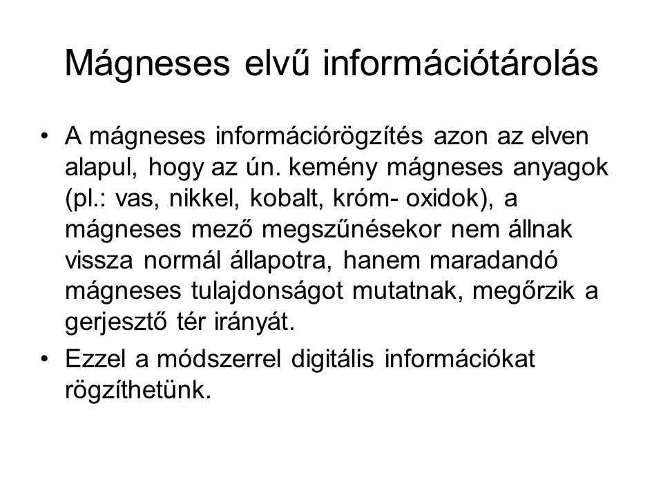 Mágneses elvű információtárolás A mágneses információrögzítés azon az elven alapul, hogy az ún. kemény mágneses anyagok (pl.: vas, nikkel, kobalt, kró