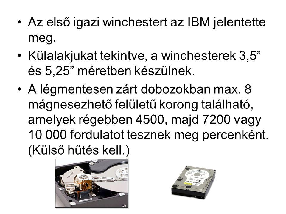 """Az első igazi winchestert az IBM jelentette meg. Külalakjukat tekintve, a winchesterek 3,5"""" és 5,25"""" méretben készülnek. A légmentesen zárt dobozokban"""