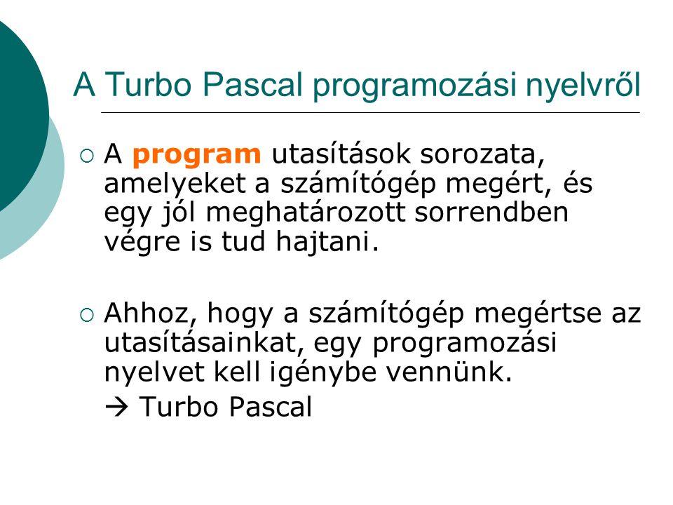 A Turbo Pascal programozási nyelvről  A program utasítások sorozata, amelyeket a számítógép megért, és egy jól meghatározott sorrendben végre is tud hajtani.
