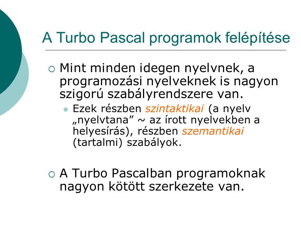A Turbo Pascal programok felépítése  Mint minden idegen nyelvnek, a programozási nyelveknek is nagyon szigorú szabályrendszere van.