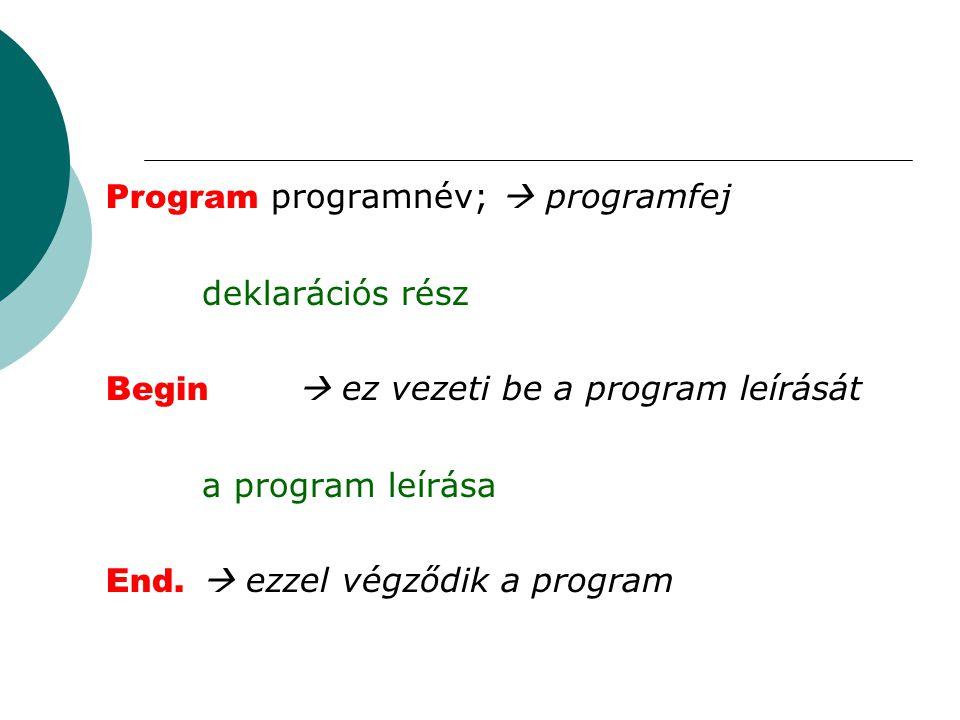 Program programnév;  programfej deklarációs rész Begin  ez vezeti be a program leírását a program leírása End.