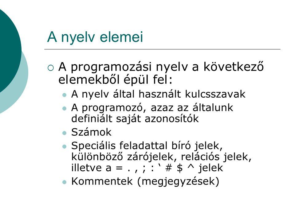 A nyelv elemei  A programozási nyelv a következő elemekből épül fel: A nyelv által használt kulcsszavak A programozó, azaz az általunk definiált saját azonosítók Számok Speciális feladattal bíró jelek, különböző zárójelek, relációs jelek, illetve a =., ; : ' # $ ^ jelek Kommentek (megjegyzések)