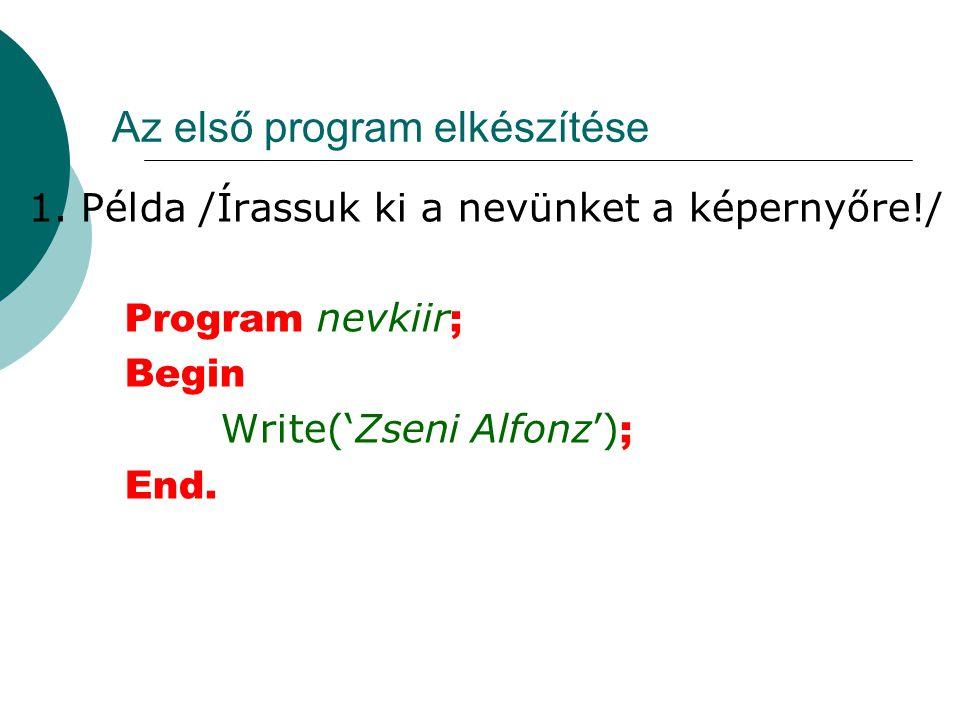 Az első program elkészítése 1.
