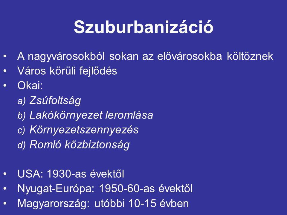 Szuburbanizáció A nagyvárosokból sokan az elővárosokba költöznek Város körüli fejlődés Okai: a) Zsúfoltság b) Lakókörnyezet leromlása c) Környezetszennyezés d) Romló közbiztonság USA: 1930-as évektől Nyugat-Európa: 1950-60-as évektől Magyarország: utóbbi 10-15 évben