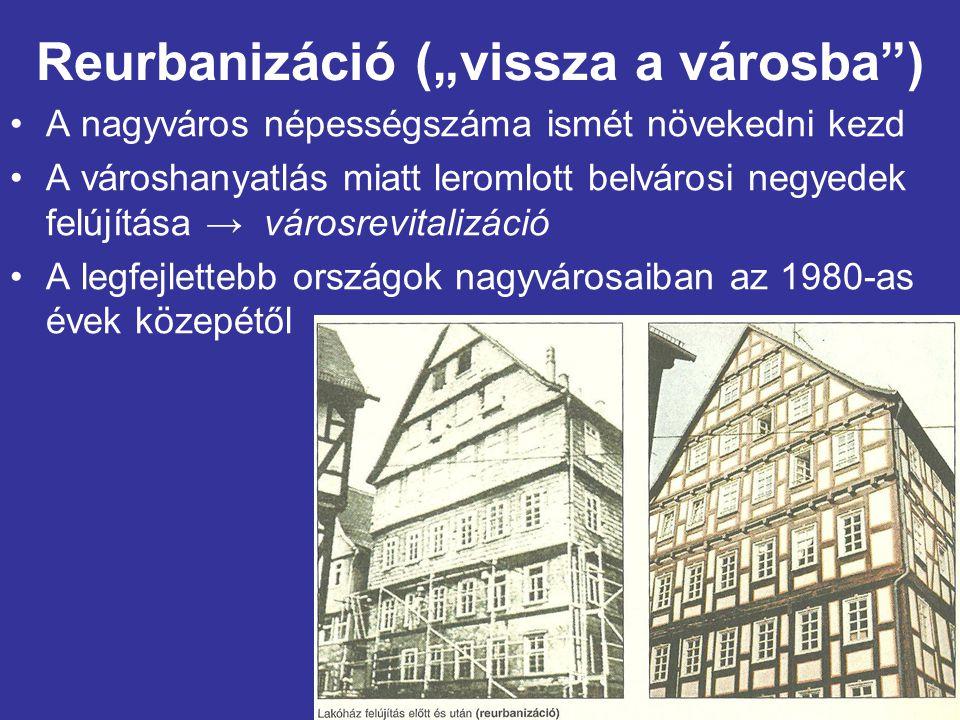 """Reurbanizáció (""""vissza a városba ) A nagyváros népességszáma ismét növekedni kezd A városhanyatlás miatt leromlott belvárosi negyedek felújítása → városrevitalizáció A legfejlettebb országok nagyvárosaiban az 1980-as évek közepétől"""