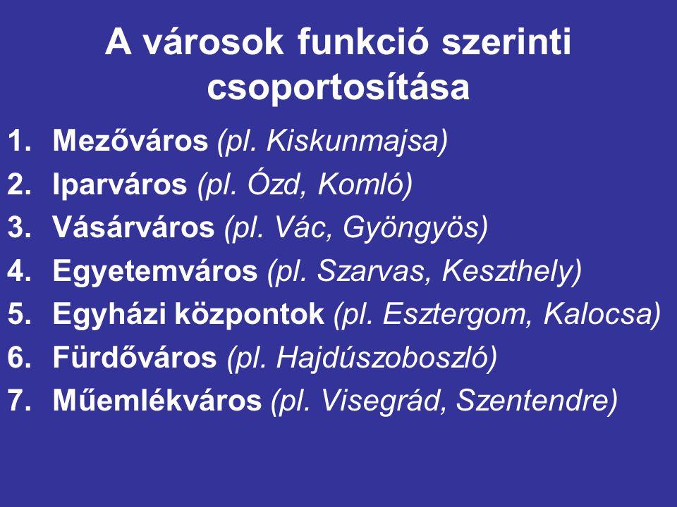 A városok funkció szerinti csoportosítása 1.Mezőváros (pl. Kiskunmajsa) 2.Iparváros (pl. Ózd, Komló) 3.Vásárváros (pl. Vác, Gyöngyös) 4.Egyetemváros (