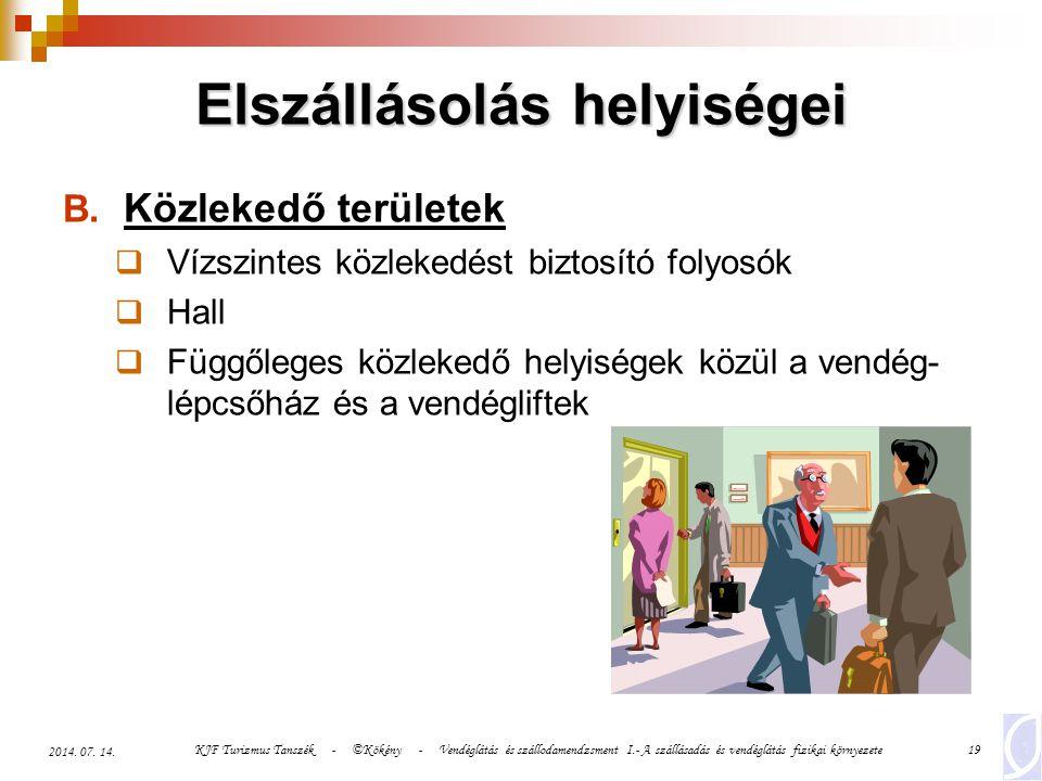 KJF Turizmus Tanszék - ©Kökény - Vendéglátás és szállodamendzsment I.- A szállásadás és vendéglátás fizikai környezete20 2014.