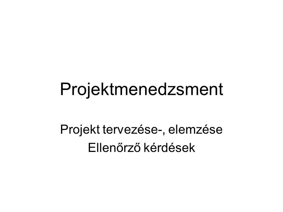 Projektmenedzsment Projekt tervezése-, elemzése Ellenőrző kérdések