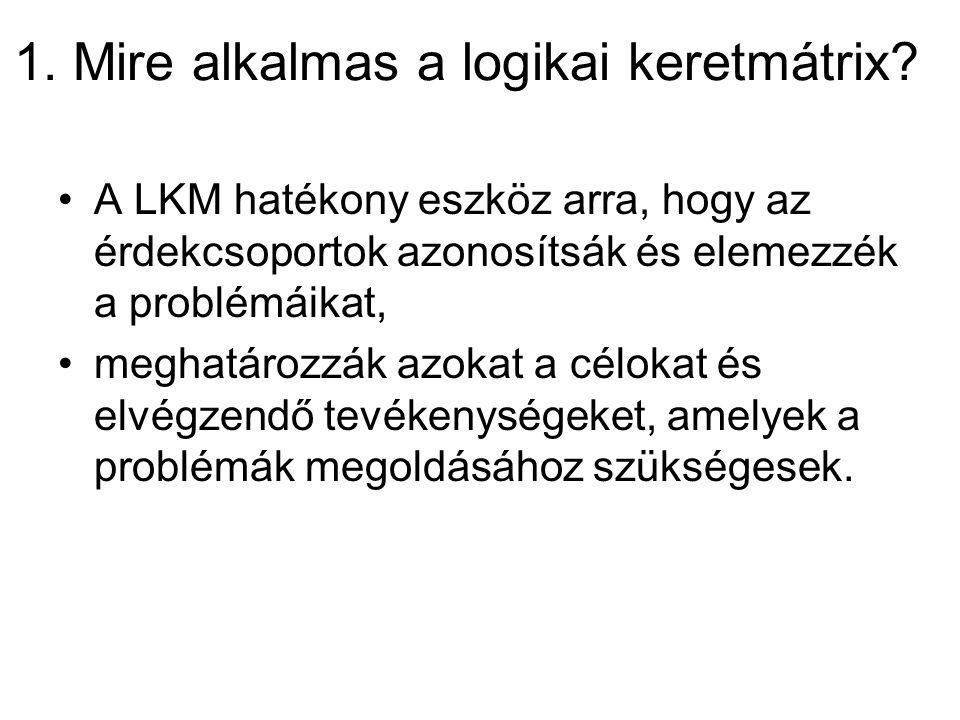 1. Mire alkalmas a logikai keretmátrix? A LKM hatékony eszköz arra, hogy az érdekcsoportok azonosítsák és elemezzék a problémáikat, meghatározzák azok